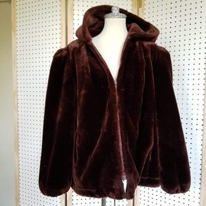 Vintage 80s Faux Fur Coat Teddy Bear Brown Hood